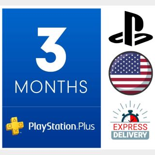 PlayStation Plus 3 Months Membership Instant Delivery US Region