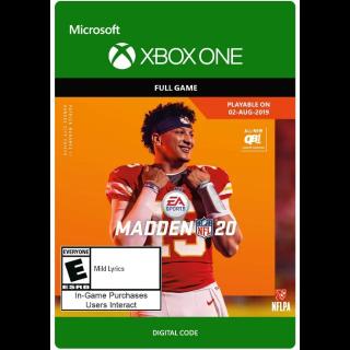 Madden NFL 20 [ Microsoft Xbox One ] [ Full Game Key ] [ Region: U.S. ] [ Instant Delivery ]