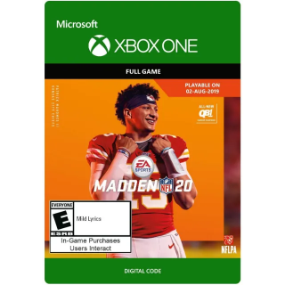Madden NFL 20 [ Microsoft Xbox One ] [ Full Game Key ] [ Region: U.S. ] [ Instant Delivery ]