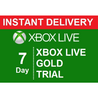 INSTANT DELIVERY | XBOX LIVE GOLD 7 DAY TRIAL DIGITAL CODE |