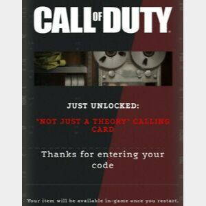 """Call of Duty Black Ops: Cold War - """"Not Just A Theory"""" Calling Card (Global Code/Battle.net OR XB1 OR PS4 version)"""