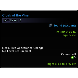 Exclusive Cloak of the Vine for Neverwinter Undermountain (Global Code/ Instant Delivery)