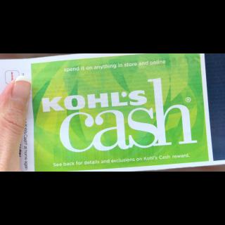 $60 Kohls Cash