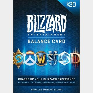 $20 Battle.net Store Gift Card Balance - Blizzard Entertainment Online Game Code - FAST Delivery
