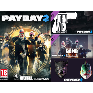 Payday 2 Bundle - Game + 3x DLC Incl. John Wick Weapons - Steam - INSTANT