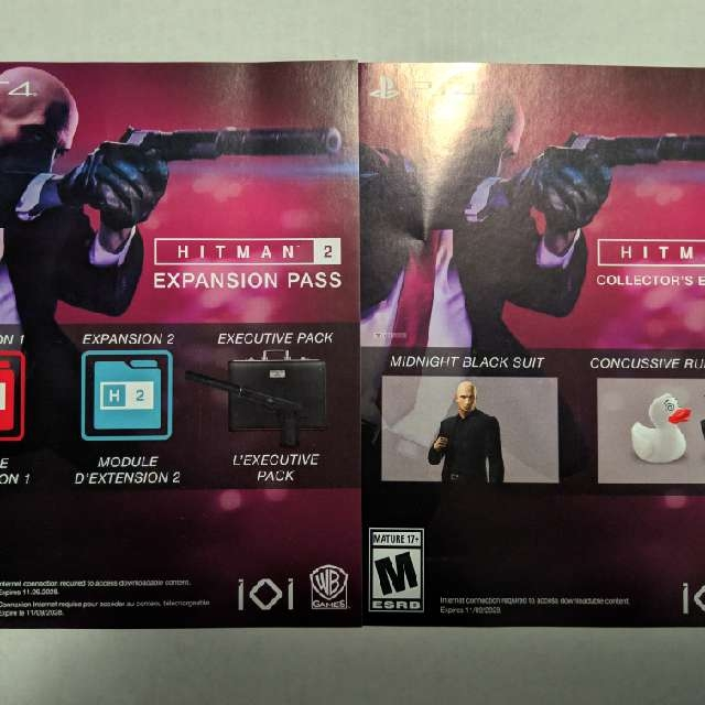 Hitman 2 Collector S Edition And Expansion Pass Dlc Voucher Ps4