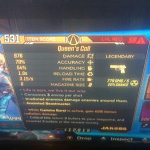 Weapon | gamma no neg radiation queen's call