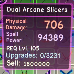 Gear | Dungeon Quest - Dual Arcane Slicers Level 105
