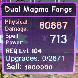 Gear | Dungeon Quest - Dual Magma Fangs