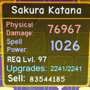Gear | Dungeon Quest - Sakura Katana Maxed - 83mil gold