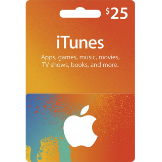 $25.00 iTunes INSTANT DELIVERY!