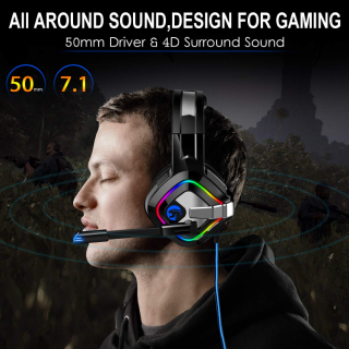 Headset with Stereo Surround Sound, Over Ear Headphones for PC, PS4, Xbox One, Laptop