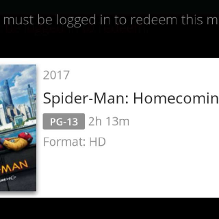 Spider-Man: Homecoming Movies Anywhere Digital Code