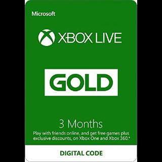 Xbox Live 3 Month Gold Membership 🇺🇸 [Digital Code]