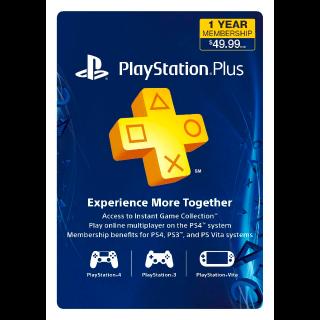 1 Year PlayStation Plus Membership - PS4/ PS3/ PS Vita