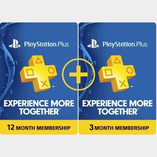 PlayStation Plus 15 months (US, CA)
