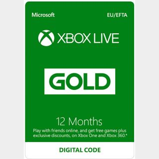 Xbox Live Gold 12 Month(Europe Region) [INSTANT DELIVERY]