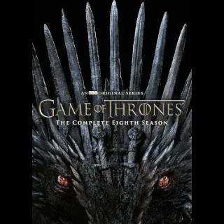 Game of Thrones: The Complete Eighth Season / 4K UHD / hbodigitalhd.com / Vudu / Google Play / iTunes