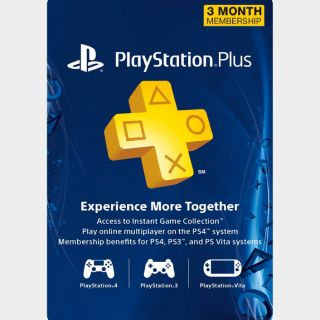 3 Month PlayStation Plus Membership (PS+) [PS3/PS4/PS5/Vita] [Digital Code] [Region: U.S.] [Instant Delivery]