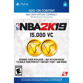 NBA 2K19 15,000 Virtual CurrencyVC [ Sony PlayStation 4 / PS4 ] [ In-game Currency Key ] [ Region: U.S. ] [ Instant Delivery ]