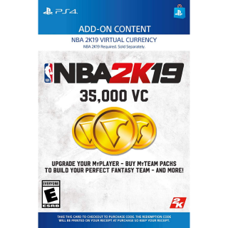 NBA 2K19 35,000 Virtual CurrencyVC [ Sony PlayStation 4 / PS4 ] [ In-game Currency Key ] [ Region: U.S. ] [ Instant Delivery ]