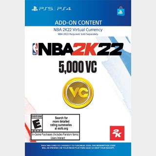 NBA 2K22 5,000 Virtual Currency VC [Sony PlayStation 4 5 / PS4 PS5] [In-game Currency Key] [Region: U.S.] [Instant Delivery]