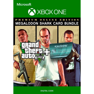 Grand Theft Auto V 5: Premium Online Edition & Megalodon Shark Card Bundle [Xbox One] [Key] [Region: U.S.] [Instant Delivery]