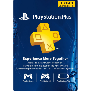 1-Year / 12 Month PlayStation Plus Membership (PS+) [PS3/PS4/PS Vita] [Digital Code] [Region: U.S.] [Instant Delivery]