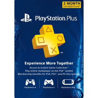 3 Month PlayStation Plus Membership (PS+) [ PS3/PS4/PS Vita ] [ Digital Code ] [ Region: U.S. ] [ Instant Delivery ]