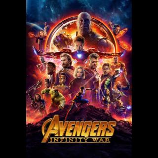 Avengers: Infinity War | HDX | UV VUDU or HD iTunes via MA