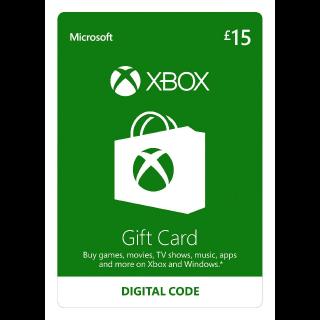 Xbox Gift Card 15 GBP Xbox Key/Code UK Account