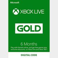 XBOX LIVE GOLD 6 months membership Xbox Key/Code Global