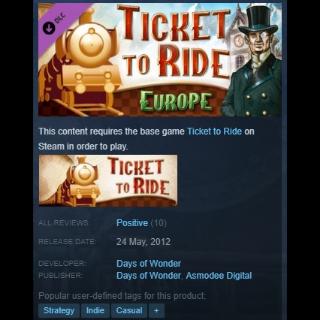 Ticket to Ride - Europe DLC Steam Key