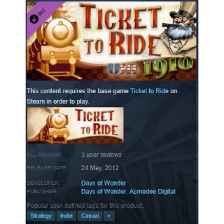 Ticket to Ride - USA 1910 DLC Steam Key