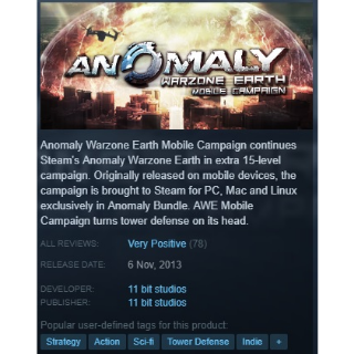 Anomaly: Warzone Earth - Mobile Campaign Steam Key