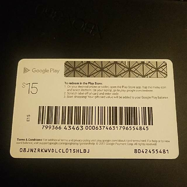 Google Play Gift Cards (New