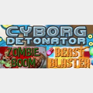 3 Game Bundle: Cyborg Detonator + Beast Blaster + Zombie Boom