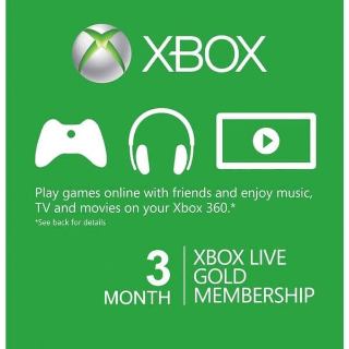 3 Month Xbox Live Gold Membership Card