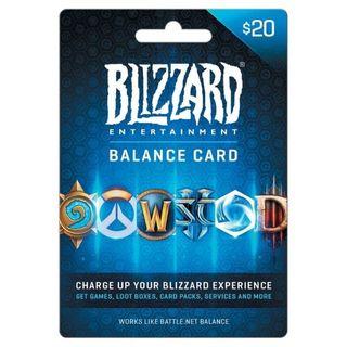 $20.00 Battle.net Store Gift Card Balance Online Game Code