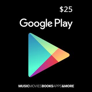 $25.00 Google Play USA