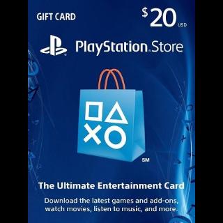 $20.00 PlayStation Store USA