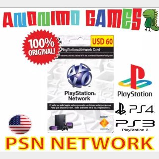 """$60.00 PlayStation Store PSN 60 """"United States Store Only"""" 60 psn Original Code Autodelivery @1 code of 60@"""