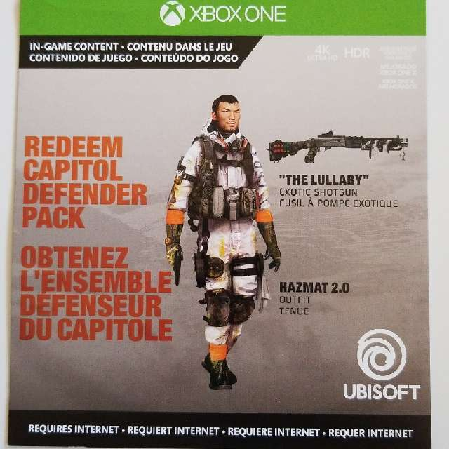 The Division 2: Capitol Defender Pack - XBox One Games - Gameflip