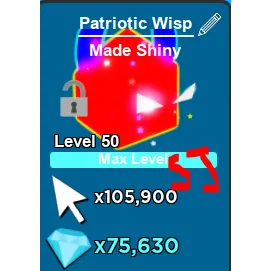 Pet   Max Shiny Patriotic Wisp