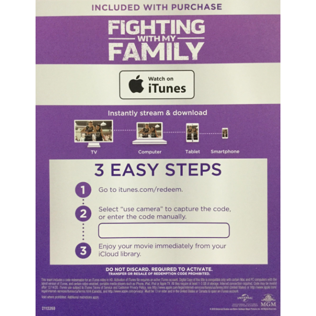Fighting with My Family (2019) HD Instant Delivery MA via