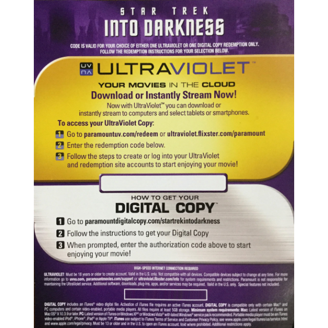 Star Trek: Into Darkness (2013) HD Instant Delivery MA via