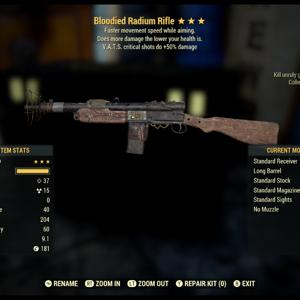 Weapon   Bloodied Vats crits radium rifle