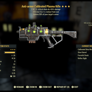 Weapon   Anti armour vats crits plasma rifle