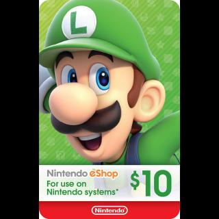 $10.00 Nintendo eShop - US Region (Instantly delivery)