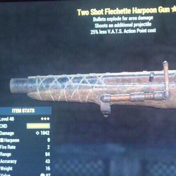 Fallout 76   3* Two Shot Explosive Harpoon Gun 1000 DMG - XBox